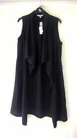 Red Herring size 14 black sleeveless jacket