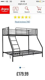 Black bunk bed, double on bottom single on top
