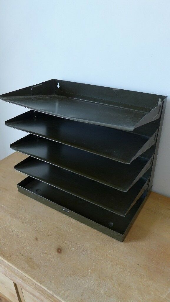 5 Tier Vintage Metal Filing Tray For Wall Mounting Desk Great 50