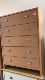 malibu 5 drawer chest beech