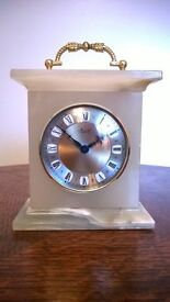 Onyx carriage clock 16cm tall incl handle