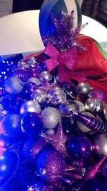 2 very large sets of purple lights and tree decorations