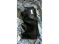 womens black leather look trousers size 10