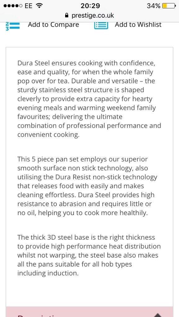 Prestige Dura Steel 5 piece cookware set