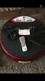 Vibrapower plate complete with remote control and exercise bands