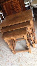 Solid Oak Nest of Tables - furniture bed fridge