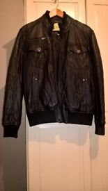 Leather jacket mens black medium vgc