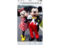 Mickey and Minnie entertainer, for hire children's party's functions gala days