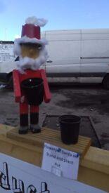 Santa and Rudolph flowerpot men Christmas decorations