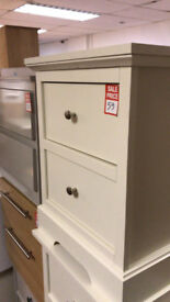 2 drawer bedside white
