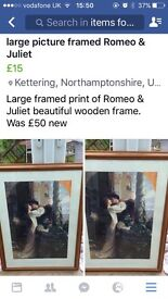 Romeo & Juliet large print in wooden frame