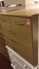 hallingford 3+2 drawer chest oak