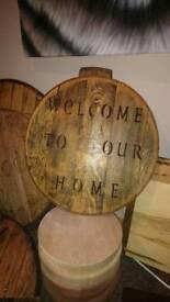 """28"""" oak barrel top house plaque"""