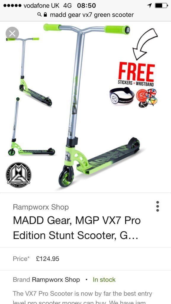 Brand New In Box - Madd Gear MGPVX7 Pro Edition Stunt Scooter - Silver/Green