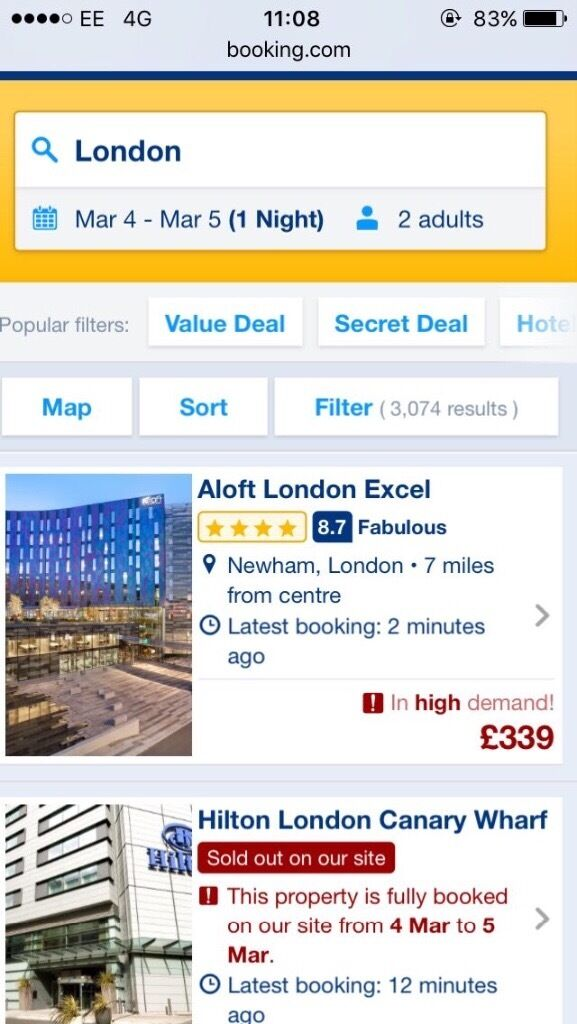 Hotel booking in London, near 02 arena. 4th march 2017 Aloft Excel Hotel room (double)