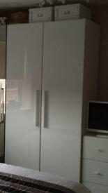 White glass doors double wardrobe
