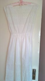 Pretty White Broderie Anglaise Dress Size 10 Excellent Condition