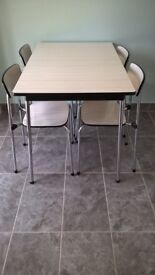"Retro Grey & White Formica Top Table with 4 x Matching Chairs. Made in Belgium by ""TAVO""."