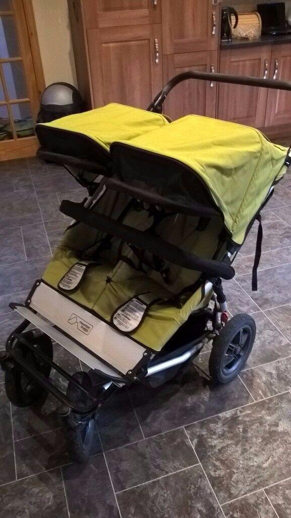 Mountain Buggy Duo Pram for twins - Green