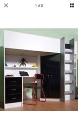Calder black and white high sleeper loft single bed with desk and wardrobe