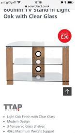 60cm wide 3 glass shelves tv unit light oak and glass
