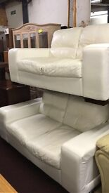 lovely leather 2 x 2 seater sofas for sale
