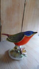 Vintage Royal Adderley Bone China Bird Figurine of a Bunting. Hand-painted. Stands 7 cm tall