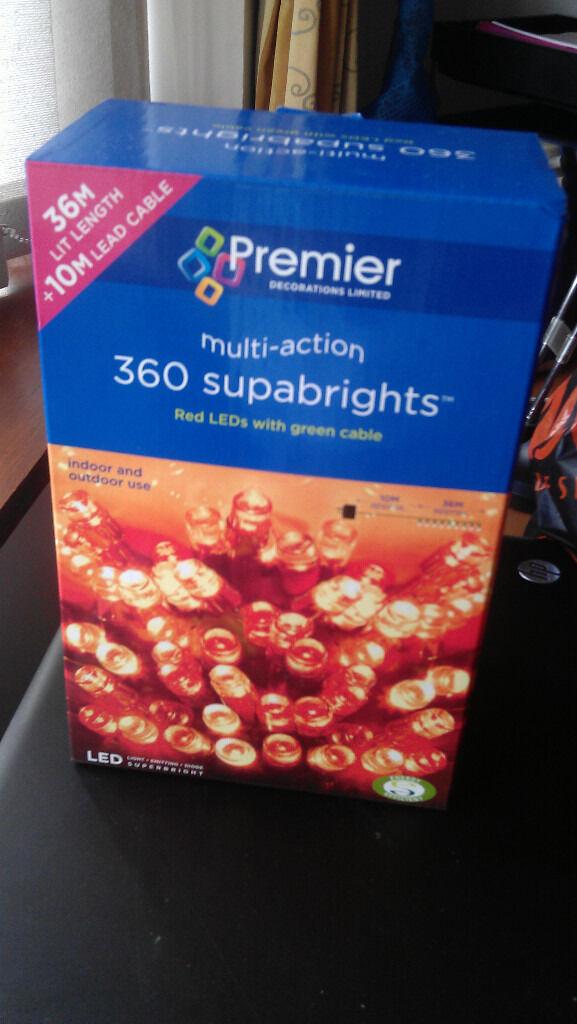 Christmas lights: 360 red LEDs.