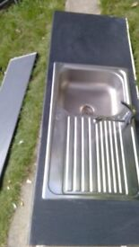 used KITCHEN SINK WITH WORKTOP AND CABINETS + DRAWERS