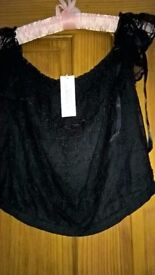 Elspeth Gibson Black Lace Gypsy Style Top New With Tag Attached Size 12