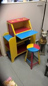 Childs Storage Desk And Stool, Updated in Primary Colours