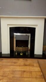 Marble Fireplace Complete With Black Granite Hearth And Back