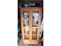 Pine,glass fronted,display cabinet