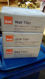 2 BOXES OF JOHNSON CERAMIC WALL TILES(WHITE & MAGNOLIA) & 3 BOXES OF B&Q CERAMIC WALL TILES(WHITE)