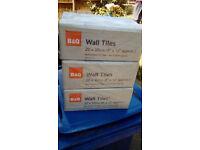 2 BOXES OF JOHNSON CERAMIC WALL TILES(WHITE & MAGNOLIA) & 3 BOXES OF B&Q CERAMIC WALL TILES(WHITE)