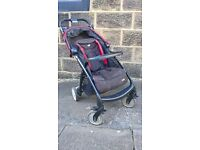 Joie buggy with Snug, and rain cover. Black and Red, suitable for older babies/toddlers.
