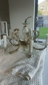 A very Elegant Vintage Glass 5 Armed Chandalier with glass attachments