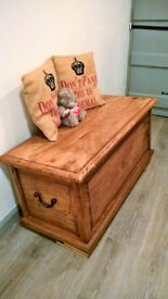 Rusic solid oak chest trunk ottoman