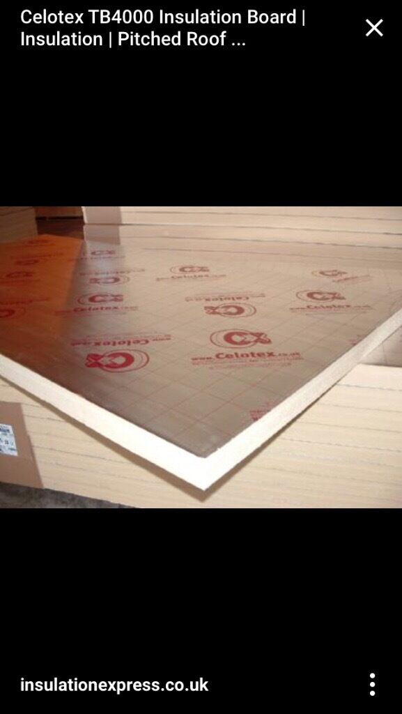 Celotex or similar insulation boards 100mm 1220x2440 and for 100mm polystyrene floor insulation