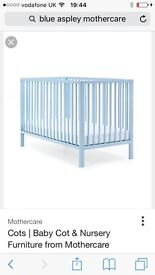 Blue mothercare cot