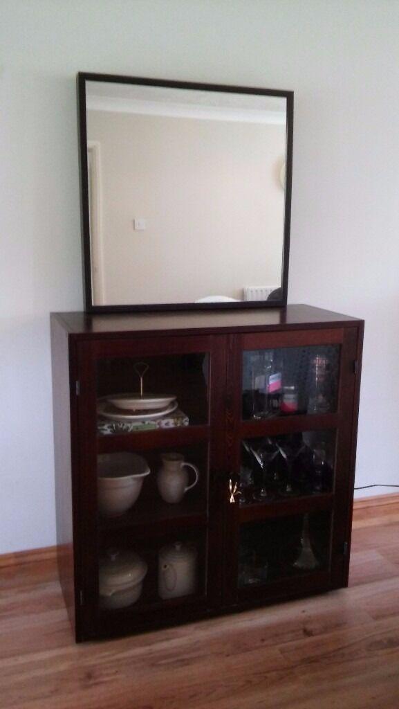 Dark Brown Cabinet with Glass doors