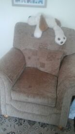 THREE PIECE SUITE LIGHT BROWN INCLUDING ARM COVERS AND CUSHIONS
