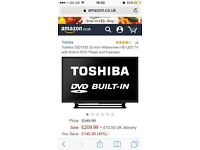 Toshiba LED 32inch widecreen, built in DVD player