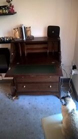 Polished Wood Drop Leaf Desk