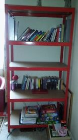 Red four-tier metal shelving unit