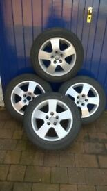Audi alloy 5 spoke wheels and winter tyres