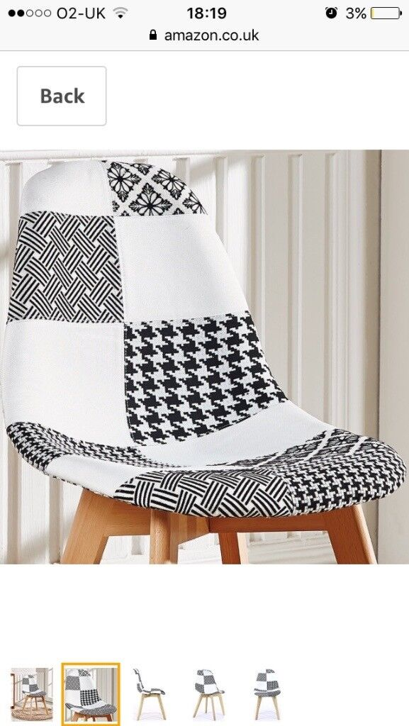 3 Striking Black and White Patchwork Chairs for Dining Room or Conservatory