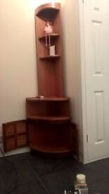 Nathan Tall Corner Unit with light, cabinet & shelves