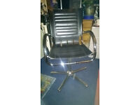 old leather & chrome retro style office chair with rocking action- excellent condition