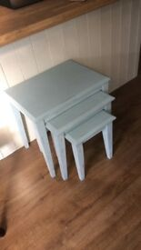 Duck egg blue nest of coffee tables